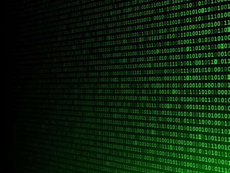 code computer: Verde c�digo inform�tico binario desapareciendo a la izquierda