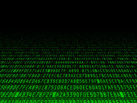 hexadecimal: Green hexadecimal computer code fading background illustration