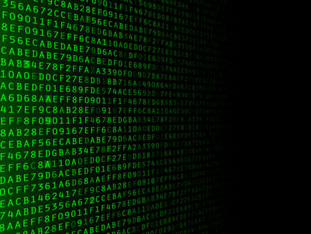 Green hexadecimal computer code fading to the right Stock Photo - 20919056