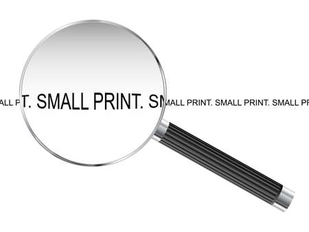 looking glass: Magnifying glass enlarging small print text