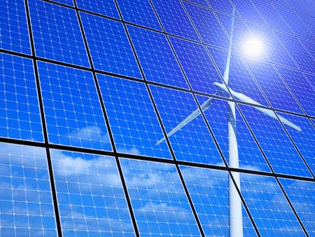 Array van zonnepanelen met windturbine reflectie