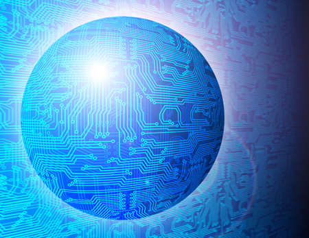 microchip: Futuristic electronic circuit board sphere. Technology background illustration