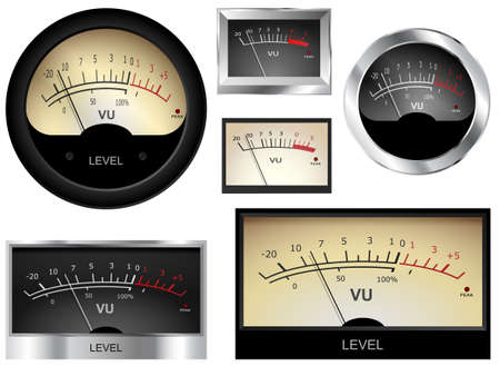 audio mixer: audio VU meters. Different colors and styles.  Illustration