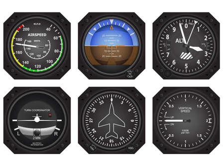 Conjunto de seis aviones de aviónica instrumentos Ilustración de vector