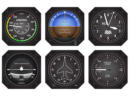 Set of six aircraft avionics instruments Illustration