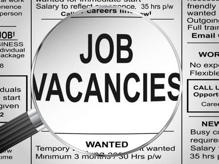 job: Newspaper clipping  Jobs vacancies under magnifying glass  Vector illustration Illustration