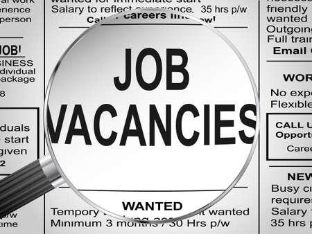 unemployment: Recorte de peri�dico Empleos vacantes bajo lupa ilustraci�n vectorial