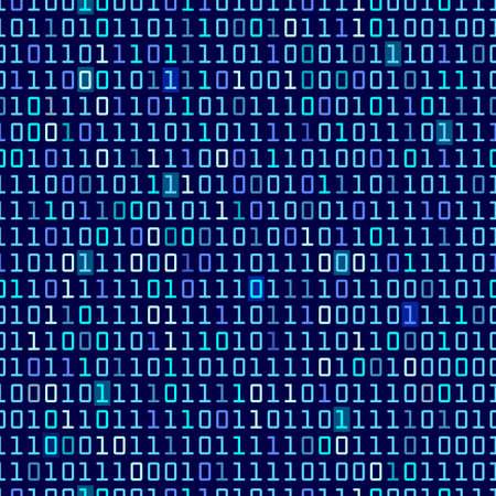 Blauwe binaire computer code herhalen vector achtergrond illustratie