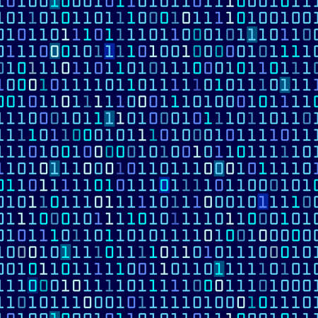 number code: Blue binary computer code repeating vector background illustration