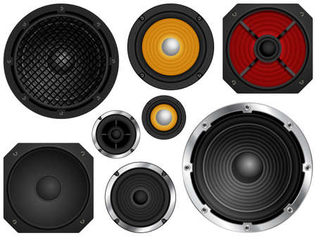 speakers: Audio speakers in different sizes and colors  Vector illustration