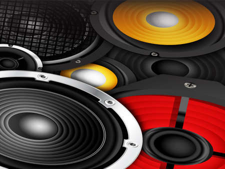 sub woofer: Audio speakers in different sizes and colors background illustration   Stock Photo