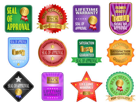 lifetime: Seal of approval and satisfaction guaranteed labels vector illustration Illustration
