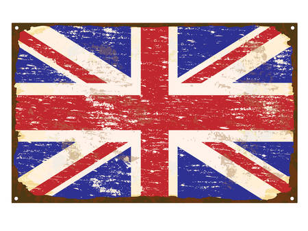 enamel: UK flag on rusty old enamel sign