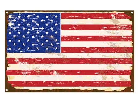 rusting: American flag on rusty old enamel sign