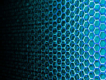hexadecimal: Hexagon and hexadecimal computer code fading background illustration