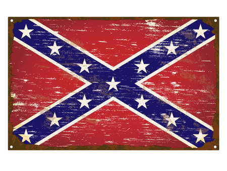 torn metal: Confederate flag on rusty old enamel sign