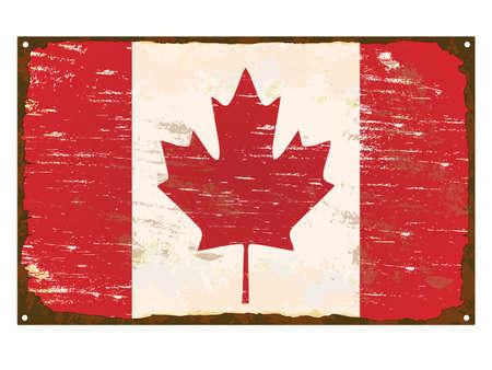 torn metal: Canada flag on rusty old enamel sign Illustration