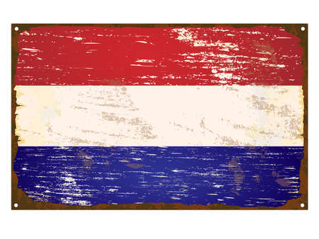 Netherlands flag on rusty old enamel sign Vector