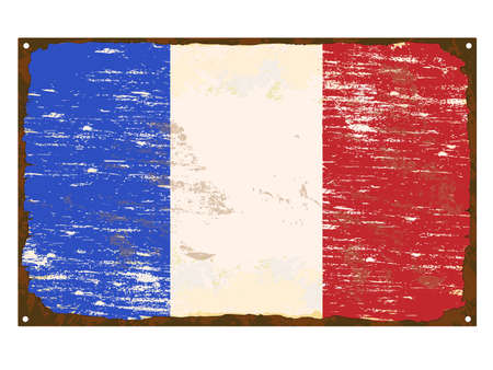 rusting: French flag on rusty old enamel sign