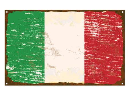 torn metal: Italian flag on rusty old enamel sign