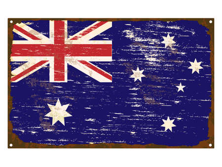enamel: Australian flag on rusty old enamel sign