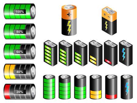 recarga: pilas rectangulares y cil�ndricos con indicaci�n del estado de carga