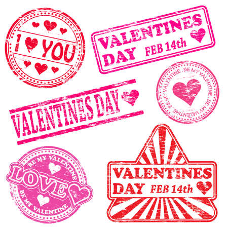 Rectangular, triangular and round Valentines Day rubber stamp illustration Vector