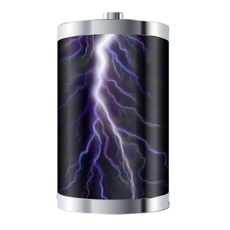 Battery cell containing powerful bolt of lightning  photo