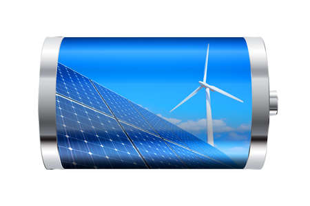 electric grid: Battery containing solar panels and wind turbine  Stock Photo