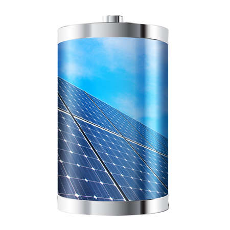 photovoltaic: Battery containing solar panels against blue sky