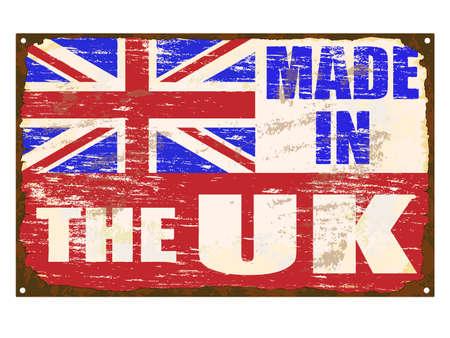 bandera de gran bretaña: Hecho en La oxidado signo esmalte viejo Reino Unido