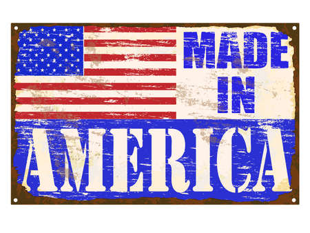 enamel: Made in America rusty old enamel sign