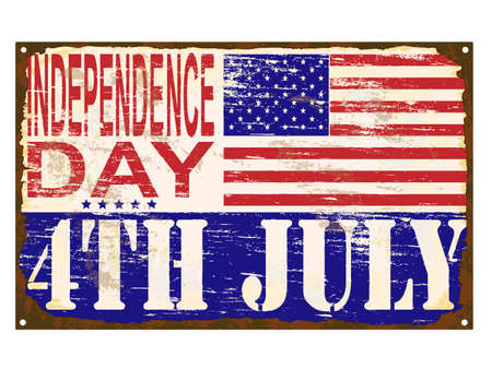 enamel: 4th of July American Independence Day rusty old enamel sign