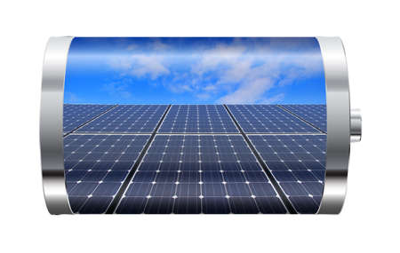 Batterij met zonnepanelen tegen de blauwe hemel Stockfoto