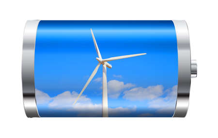 wind energy: Battery containing wind turbine against blue sky