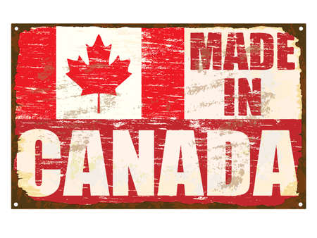 Made in Canada rusty old enamel sign Vector