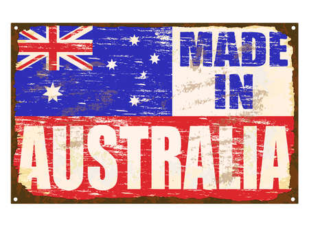 Made in Australia rusty old enamel sign Vector