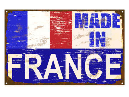 enamel: Made in France rusty old enamel sign