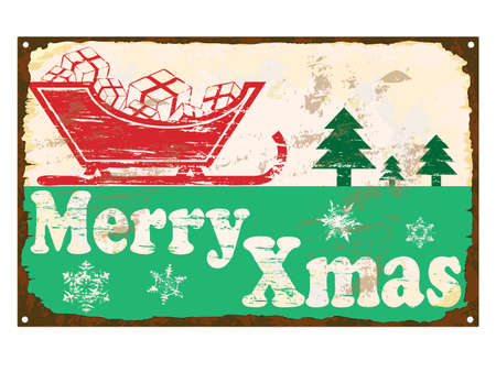 rusting: Merry Xmas rusty old enamel sign
