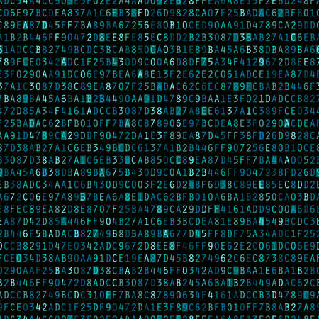 alphanumeric: Blue hexadecimal computer code repeating vector background wallpaper