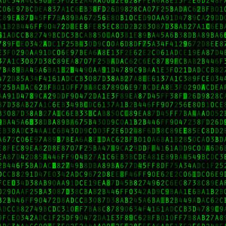 Green hexadecimal computer code repeating vector background wallpaper Illustration