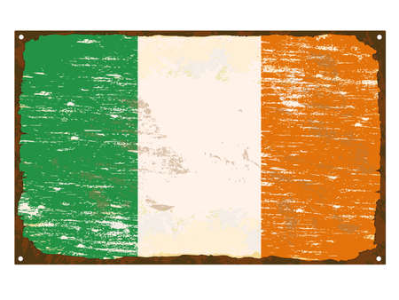enamel: Irish flag on rusty old enamel sign