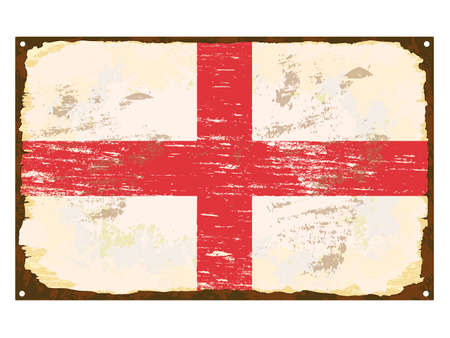 enamel: English flag on rusty old enamel sign