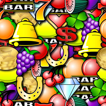 Fruit machine symbols. Repeating seamless wallpaper background  Stock Photo