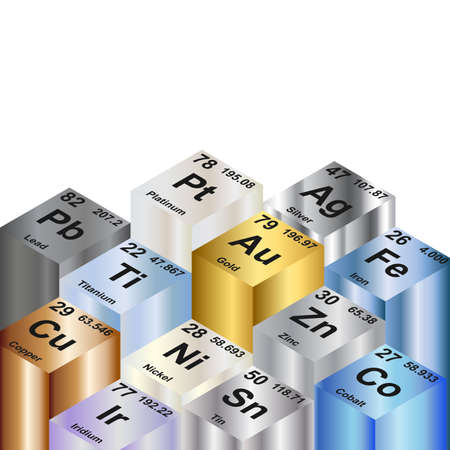 periodic: Columns of metallic elements  Background vector illustration