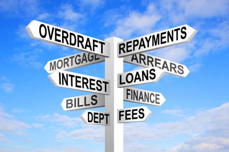 overdraft: Dept sign post. Financial problems and decisions
