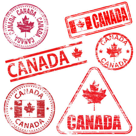 maple leaf: Canada, different shaped rubber stamp vector illustration