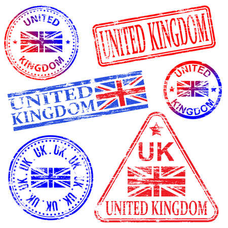 gb: United Kingdom different shaped rubber stamp vectors