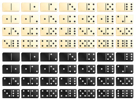 dominoes: Complete set of black and white dominoes. Vector illustration  Illustration