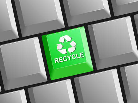 Keyboard button with recycle symbol Vector